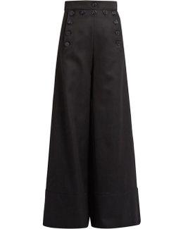 Sailor High-rise Wide-leg Wool-blend Trousers