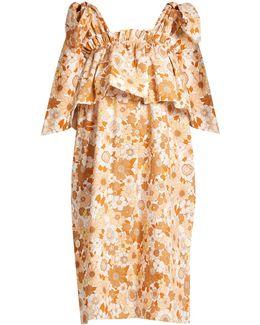 Ruffled-tier Floral-print Cotton Dress