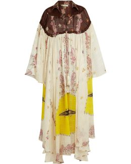 Paisley-print Bell-sleeve Silk Gown
