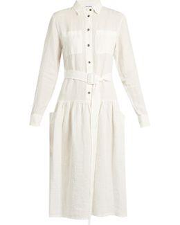 Dropped-waist Linen Dress