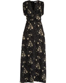 Flower Field-print Silk Dress