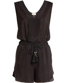 Ione Textured-silk Playsuit