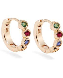 Sapphire, Ruby, Emerald & Gold Twister Earrings