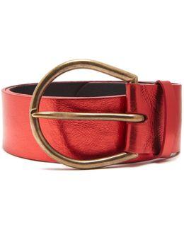Oversized-buckle Leather Belt