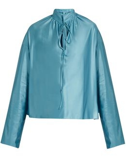 Buttoned-collar Long-sleeved Jersey Blouse