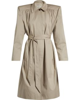 Exaggerated-shoulder Twill Trench Coat