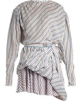 Uplifted Striped And Star-jacquard Mini Dress