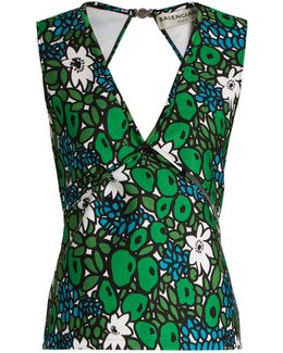 Floral-print Wrap-style Bonded-jersey Tank Top