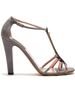 Love Blade Suede And Patent-leather Sandals