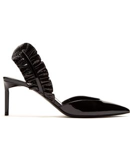 Edie Ruffle-trimmed Patent-leather Pumps