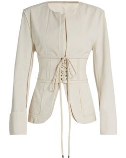 Honey Collarless Cotton-blend Jacket