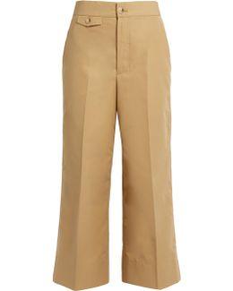 High-rise Wide-leg Cotton-faille Trousers