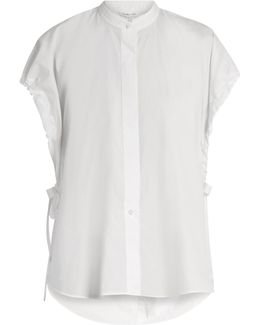 Tie-side Cotton Poplin Shirt