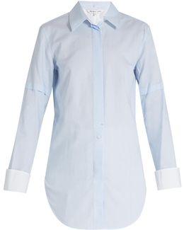 Ticking-striped Tuxedo Cotton Shirt