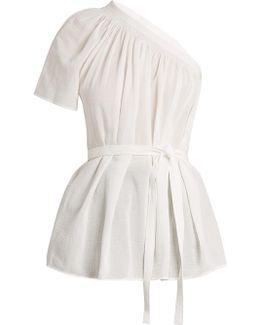 One-shoulder Cotton-gauze Top