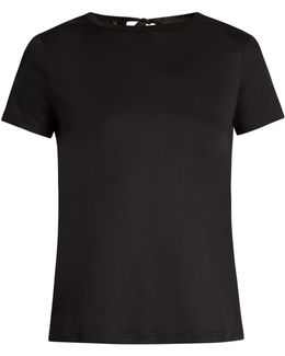 Tie-back Cotton-jersey T-shirt