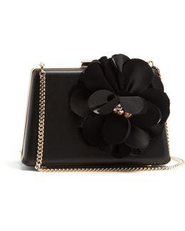 Le Petit Sac Flower-appliqué Leather Box Clutch