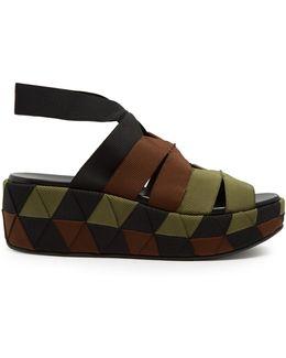Elettra Canvas Flatform Sandals