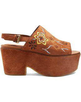 Floral-embroidered Suede Platform Sandals