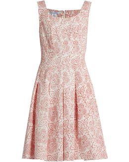Pleated Floral-print Cloqué Dress