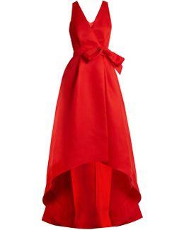 Cut-out Back Wrap-front Silk-gazar Gown