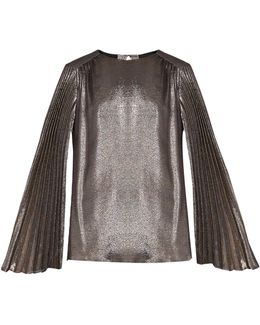 Pleated-sleeve Silk-blend Lamé Blouse