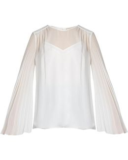 Pleated-sleeve Silk-georgette Blouse