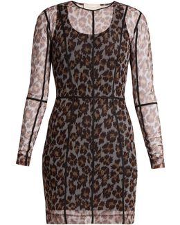 Leopard-print Mesh Dress