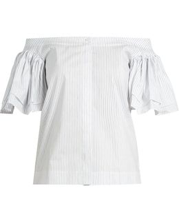 Ruffled Off-the-shoulder Cotton-blend Poplin Top