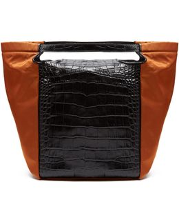 Real Trapeze Crocodile-effect Leather Tote