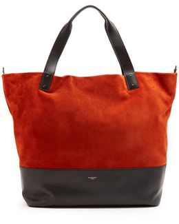 Wave Bi-colour Suede And Leather Tote
