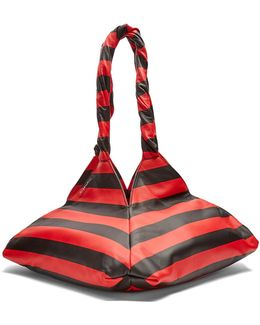 Pyramid Striped Leather Tote