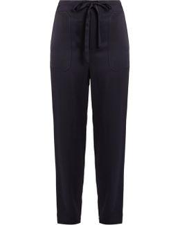 Drawstring Tapered-leg Satin Trousers
