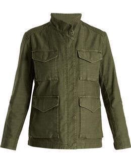 High-neck Cotton-gabardine Jacket