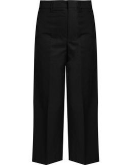 Wide-leg Cropped Cotton-sateen Trousers