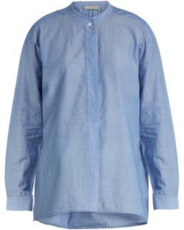 Stand-collar Pinstriped Cotton-oxford Shirt