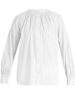 Oversized Gathered-detail Cotton Shirt