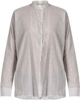 Stand-collar Striped Cotton Shirt