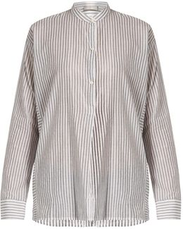 Stand-collar Striped Cotton Shirt