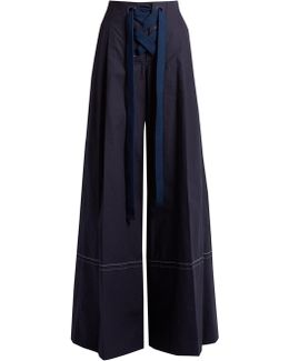 High-rise Cotton Wide-leg Trousers