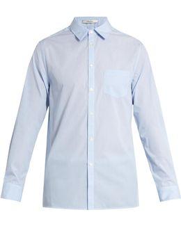 Spread-collar Single-cuff Cotton Shirt