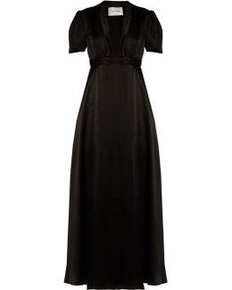 Deep V-neck Satin Gown