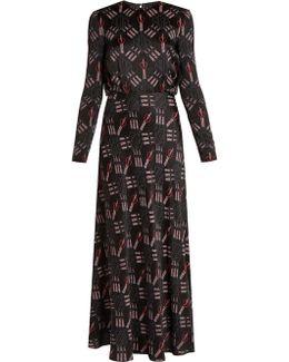 Love Blade-print Satin-crepe Gown