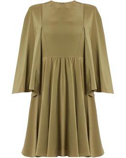 Cape-sleeve Silk Crepe De Chine Dress