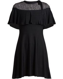 Lace-panel Knitted-jersey Dress