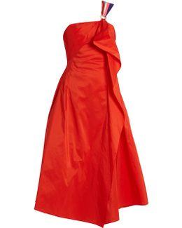 Ruffled-front Taffeta Dress