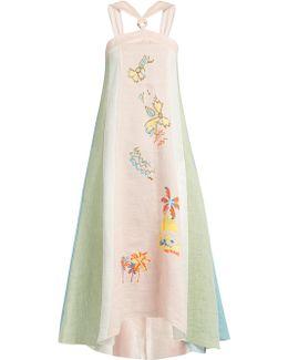 Embroidered Striped Linen Halterneck Dress