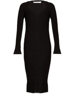 Deep V-neck Ribbed-knit Wool Midi Dress