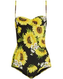 Sunflower-print Balconette Swimsuit