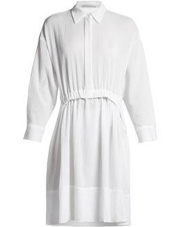 Long-sleeved Elasticated-waist Cotton Dress